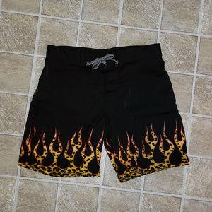 Other - Leopard Flamed Swim Trunks or Board Shorts, Sz 34
